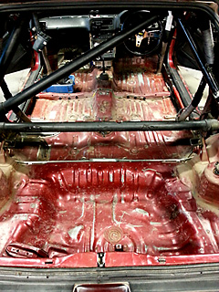 競技車のCRX室内の塗装 施工前